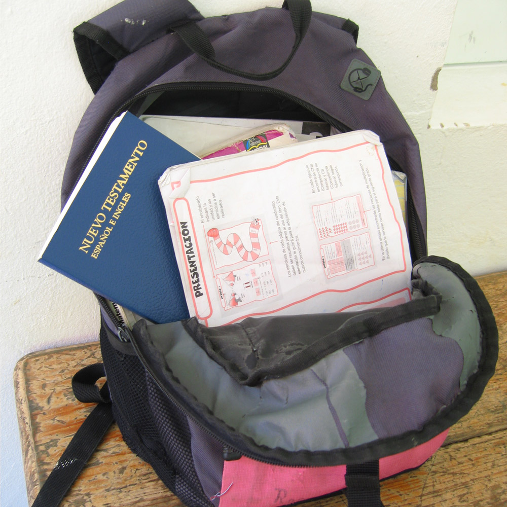 Backpack with School Supplies and a Bible